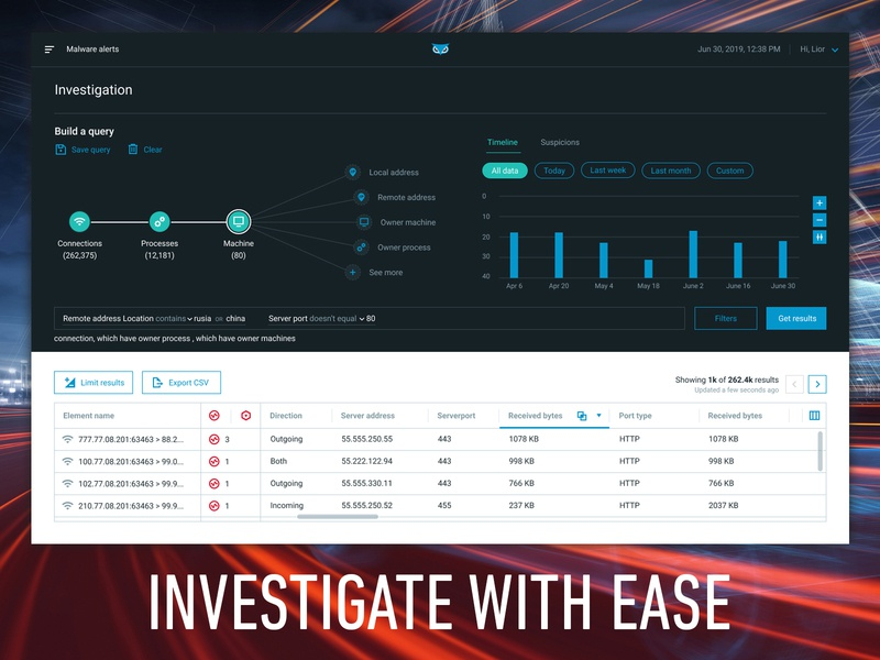 INVESTIGATE WITH CYBEREASON platform interactive attack tree process tree hack hacker results table paging toggle cyber security cyber correlation filter search query query builder timeline investigation investigate