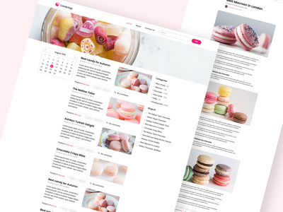 Candylogy concept- Blog pages design web website minimal creative concept uiuxdesign pink ui blog design