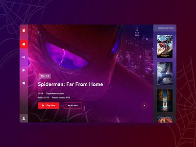 Exploration-06 tv app tv movie app movie spiderman marvelapp marvel hero section website ux minimal creative concept web ui design