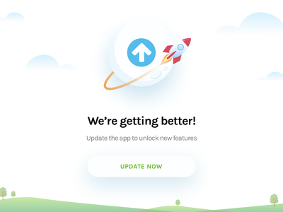 App Update Notification rocket greens sky unlock features upgrade fresh notification update ui ux illustration
