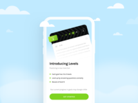 Levels introduction get started question fun practice introduction sky cloud level up level illustration ux ui