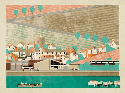 View of Benfleet fendell posters neil fendell illustration town benfleet poster england uk essex