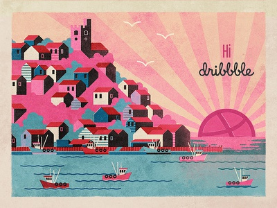 Hi Dribbble first shot illustration coast town fishing dribbble hi