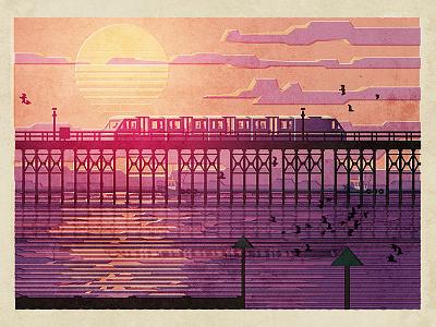 Pier Train poster essex seaside train pier southend