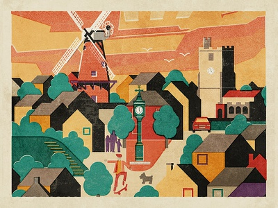 Rayleigh fendell posters uk essex rayleigh clock town church windmill
