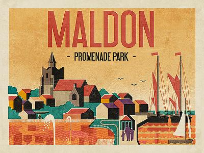 Maldon Promenade Park neil fendell fendell posters boats lake river uk england essex maldon park promenade