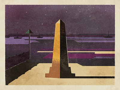 The Crowstone london night print illustration leigh-on-sea brewery fendell posters chalkwell beach river estuary thames uk essex southend crowstone