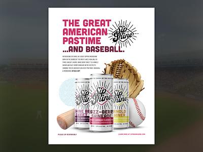 Sip Shine | Ad print ad design magazine ad magazine baseball advertising logo branding brand michigan