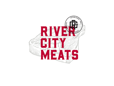 River City Meats michigan butcher meat food illustration icon typography design branding logo brand