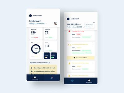 Methuselah app screens reminder fitness health app simple color ux ui app design design adobexd adobe dashboard clean app ui