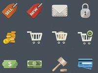 flat e-commerce icons