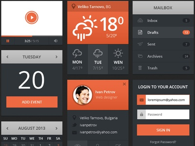Flat Ui Set flat ui widgets weather player mail calendar profile user login account