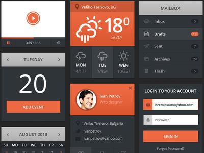 Flat Ui Set flat ui widgets weather player mail calendar profile user login account