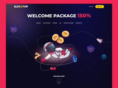 SLOTOTOP - Online casino from another galaxy concept igaming galaxy astronaut austronaut space branding character landing page illustration casino