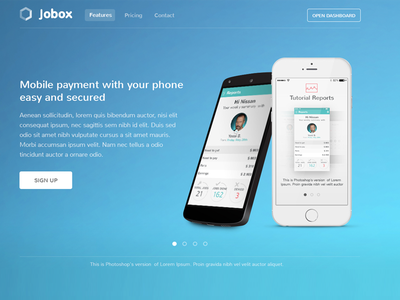 Jobox App Landing Page iphone subscribe android ios landing page app