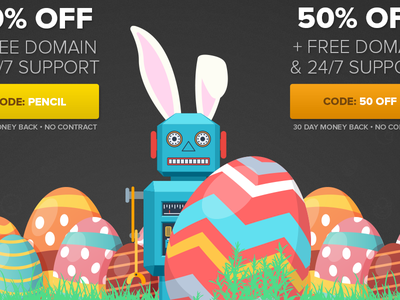 Easter Promo Landing Page salespage sale eggs robot hosting landing page easter