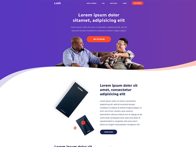 Landing Page modern colors steps ux ui gradients pills men mobile app how it works landnig page