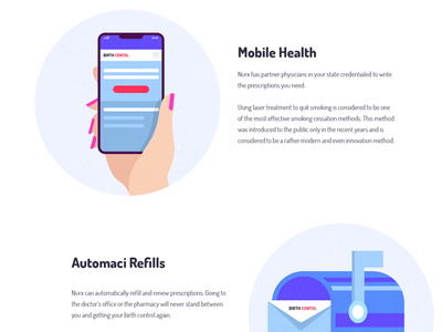 Features section illustrations icons device mobile app features