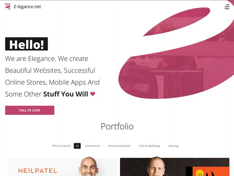 E-legance portfolio home page illustration landing page web design agency purpule elegance ux ui web design and development portfolio design showcase home page web design portfolio