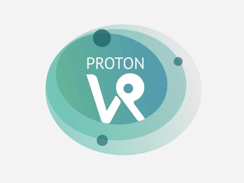 Proton VR logo flat medical concept greens minimal illustration icon vector branding typography design color gradient molecule proton
