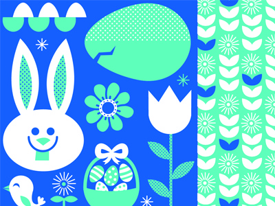 Easter easter bunny egg flower dandy lions bird blue cracked easter bunny pattern packaging surface design