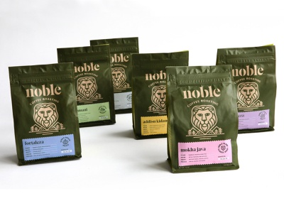 Noble Coffee Roasting bean packaging river mountains tree brand identity logo icon branding packaging oregon lion coffee packaging coffee
