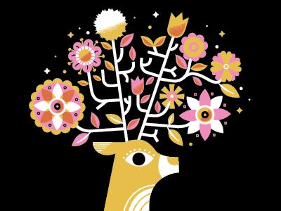 New Art Print deer flowers spark magic illustration bold gold pink