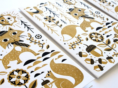 2013 Holiday Cards holiday gold fox squirrel flowers christmas greeting cards letterpress clouds acorns