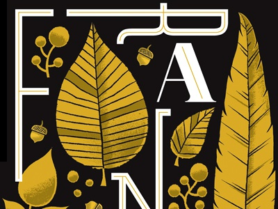 Frankie Rose Poster preview  type lettering typography in-line leaf acorn black gold frankie rose poster