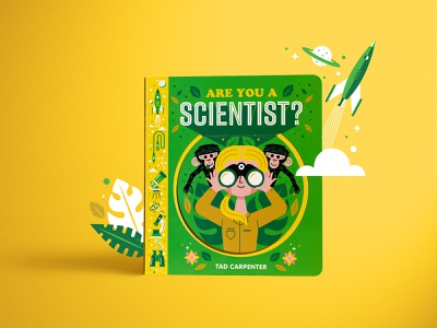 Are You A Scientist? Book childrens book book icons telescope leaves rocket scientist monkeys science