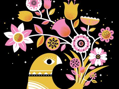 Couple new prints bird flowers leaf pattern color illustration black bouquet print