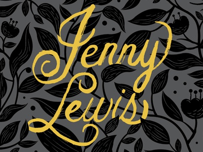 Jenny Lewis lettering hand type gold metallic leaf fish flowers painted