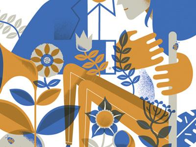 Poster WIP poster leaf flowers vines hand girl hug ladybug silkscreen