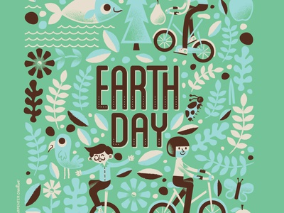 Happy Earth Day! earth day flowers leaf bike bicycle ladybug bird green recycle color