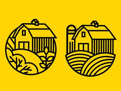 Logo WIP stroke monoline icons icon logo development field plant grass farm tree barn