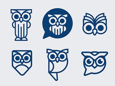 Logo Exploration  communication talk word bubble reading education school iconography icon logo owl