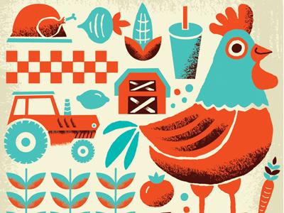 Brand Assets  pattern branding restaurant farm barn carrot tomato tractor corn soda turkey chicken