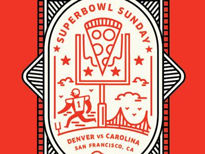 Super Bowl SUNday icon sports seal badge clouds san francisco cam newton super bowl football pizza sun