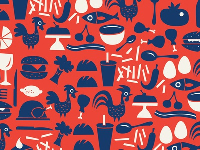 Pattern and icon play soup pattern bacon veggies tomato fries fish cake lemon chicken icons food