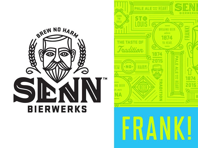 Senn Bierwerks brand identity line work barley hops mark icon word mark frank st louis logo brewery beer