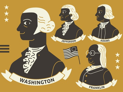 Founding Fathers iconography icons flag sam adams thomas jefferson ben franklin george washington united states america usa presidents founding fathers