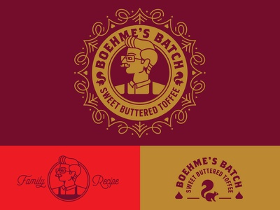 Boehme's Batch logo system mustache chocolate squirrel seal toffee candy packaging brand identity branding icon logo