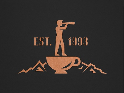 WIP Logo Exploration mountains coffee cup exploration travel outdoors copper icon logo man periscope explorer coffee