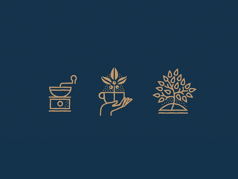 Icon Style WIP beans leaf plant mono-line grinder coffee cup hand tree coffee icons