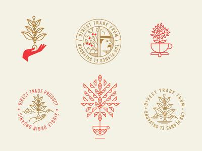 Coffee Iconography WIP coffee roasting coffee bean stamp seal leaf plant hand farmer tree cup icon coffee