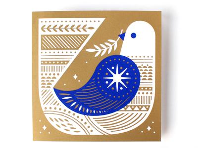 2017 Holiday Card greetings holidays christmas card gold bird peace christmas dove