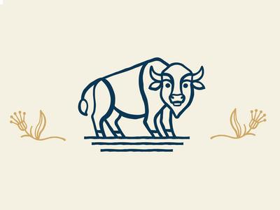 Bison Icon coffee bean bean logo icon buffalo kansas coffee flower bison