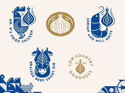 The Brass Onion Iconography menu restaurant iconography icons kansas low country onion beef cow shrimp chicken
