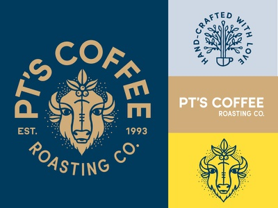 PT's Coffee Roasting brand assets buffalo logo rebrand espresso farmer cup flower coffee beans bison packaging coffee