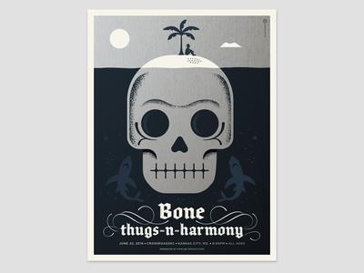 Bone Thugs-N-Harmony Poster gig poster poster silkscreen typography lettering shark fish ocean palm tree beach skull